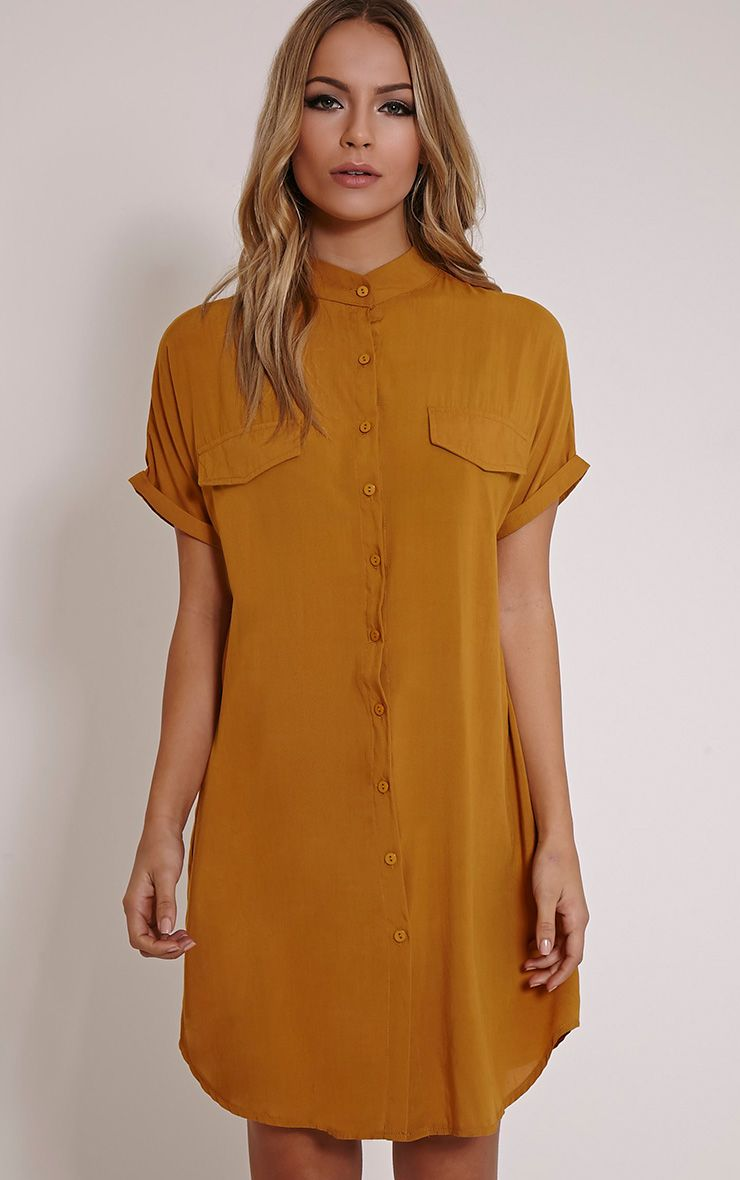 Valeria Mustard Cap Sleeve Shirt Dress 1