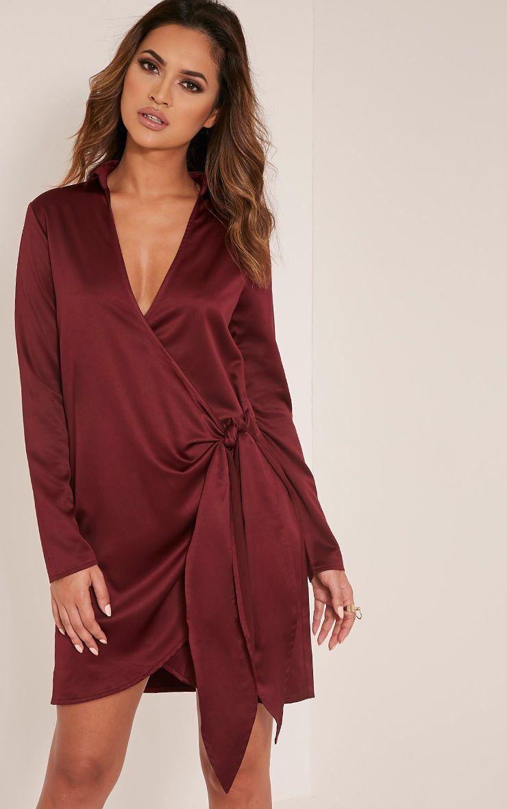 Shaylene Burgundy Tie Side Satin Shirt Dress