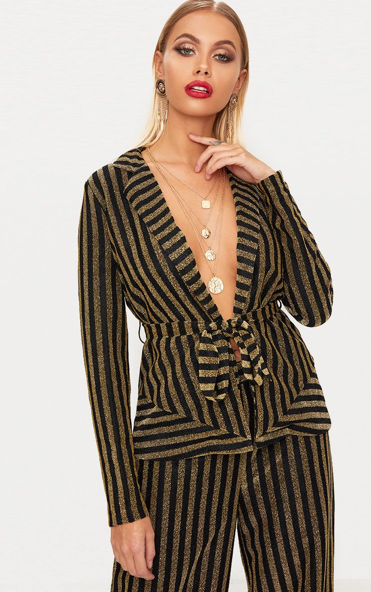Black Metallic Stripe Belted Blazer