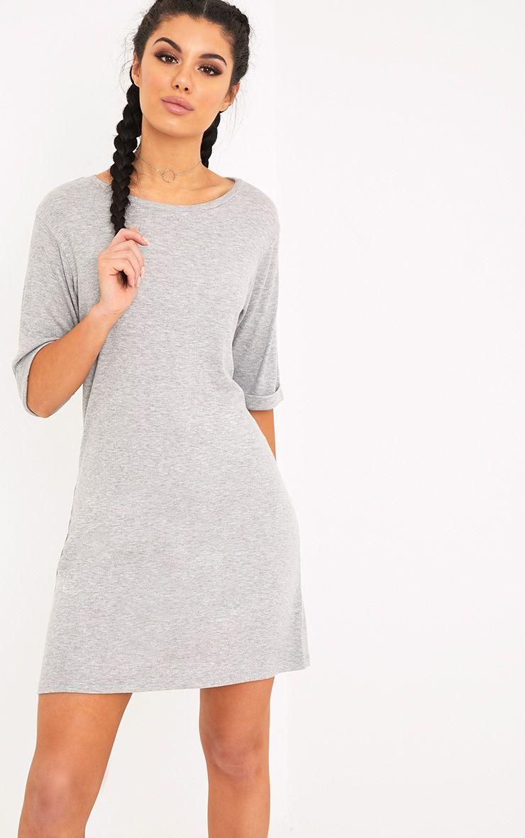 Kannah Grey Ribbed Roll Sleeve Oversized T Shirt Dress 1