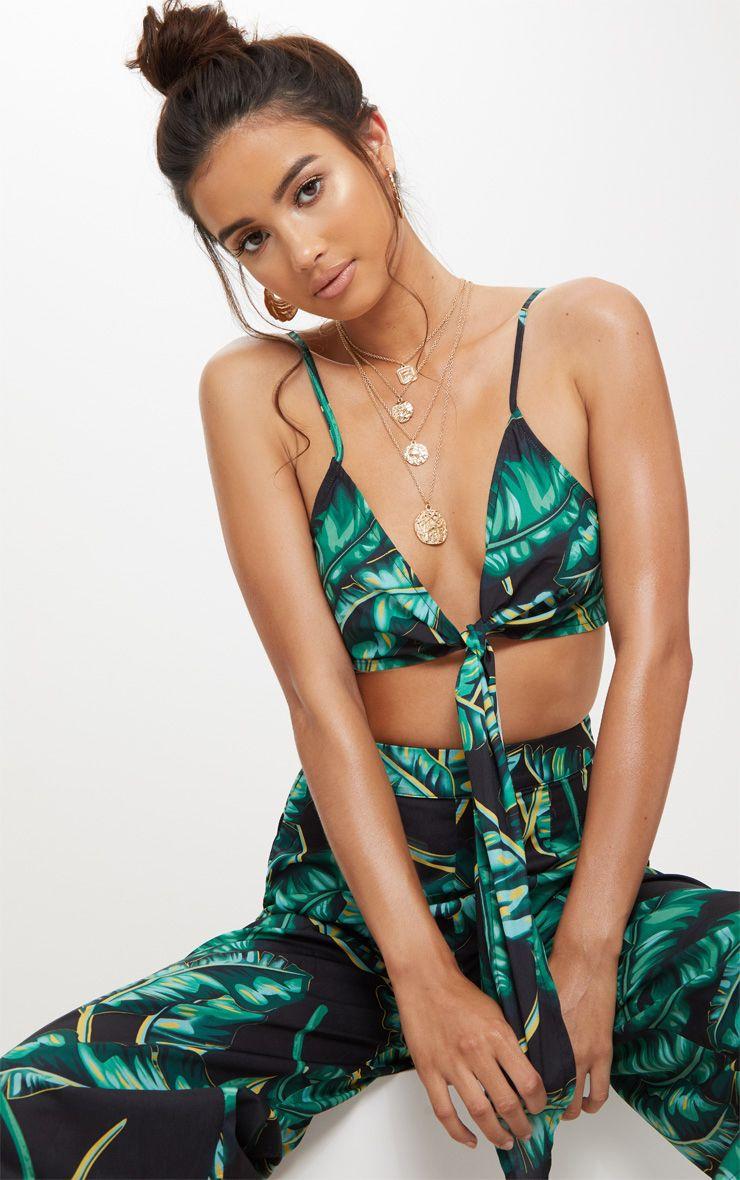 Black Palm Print Tie Front Bralet