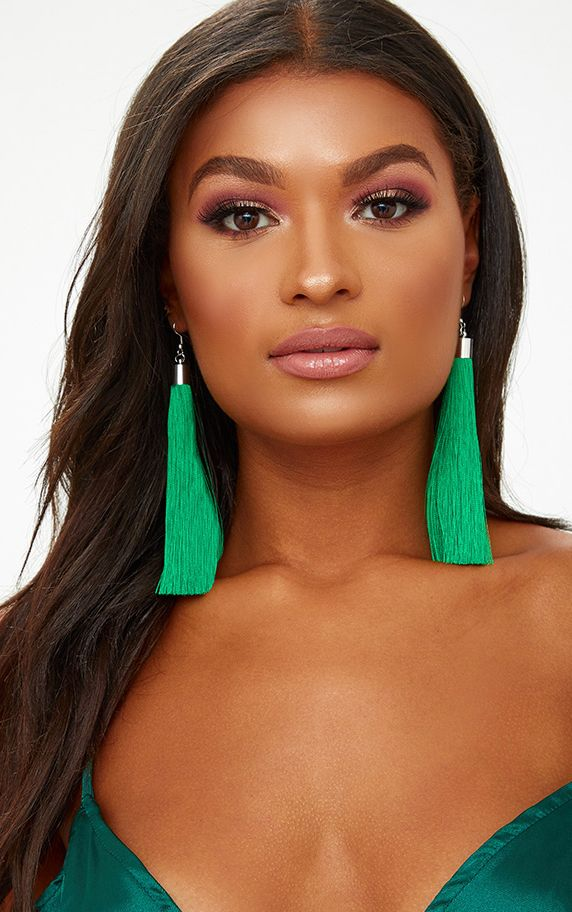 Green Long Tassel Earrings