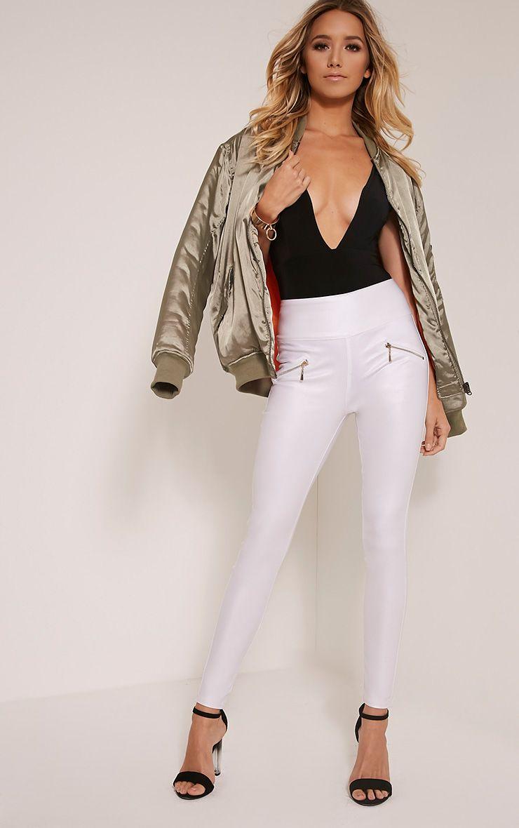 Jamima White Zip Back Super Skinny Coated Trousers 1