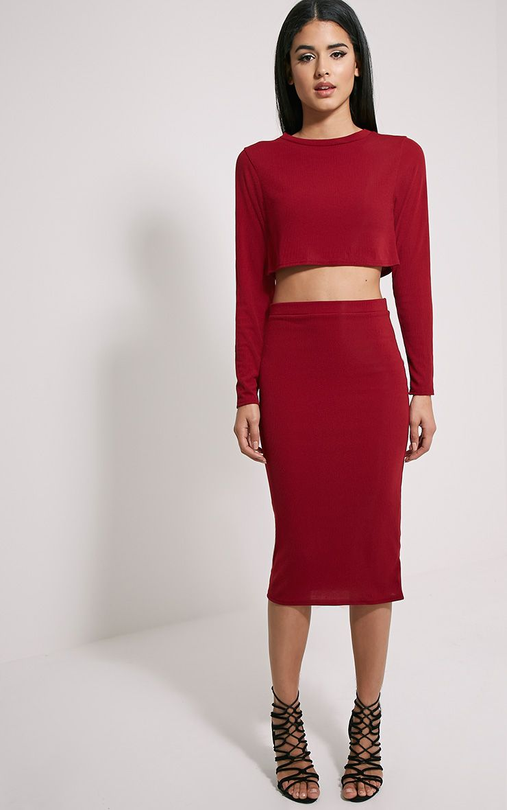 Basic Burgundy Ribbed Midi Skirt 1