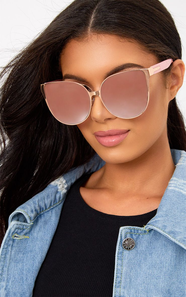 Ronnie Rose Gold Oversized Cat Eye Sunglasses