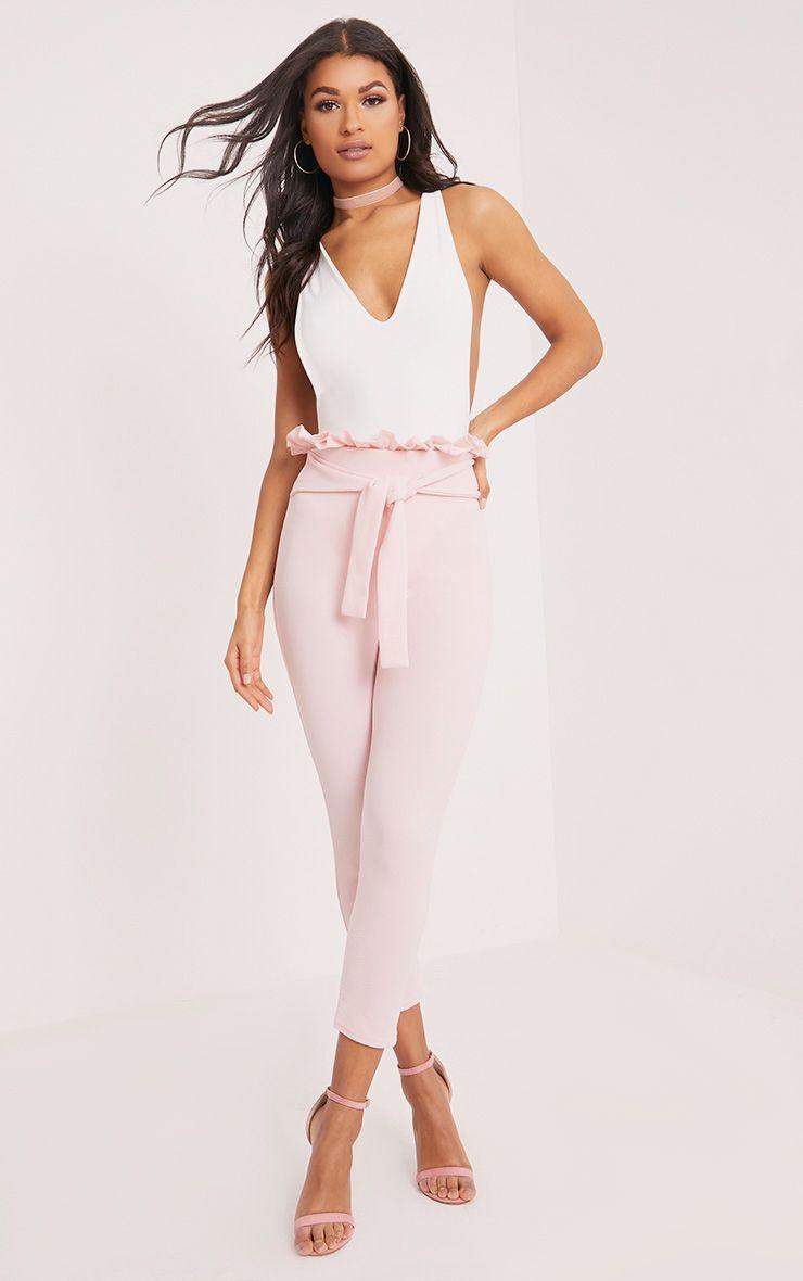 Perlita Pink Paperbag Skinny Trousers