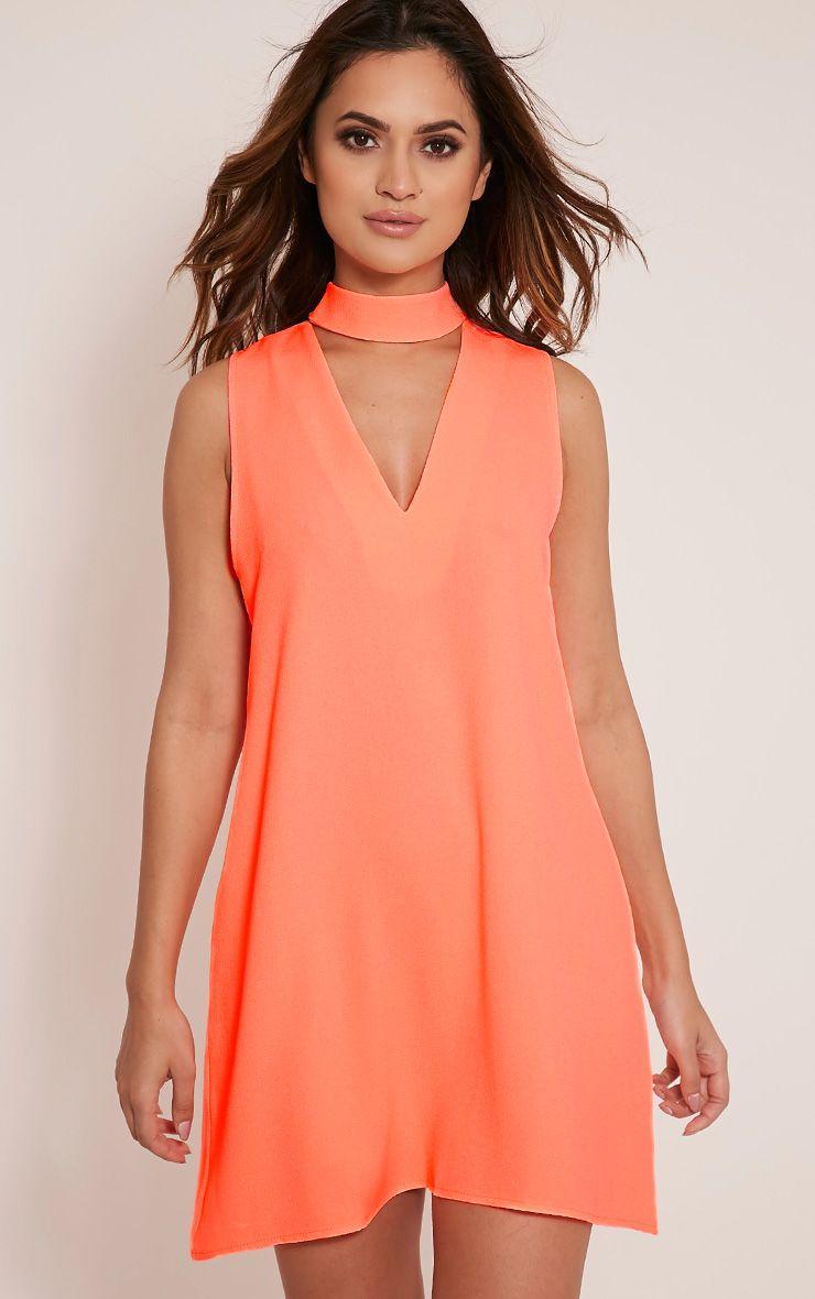 Cinder Neon Peach Choker Detail Loose Fit Dress 1