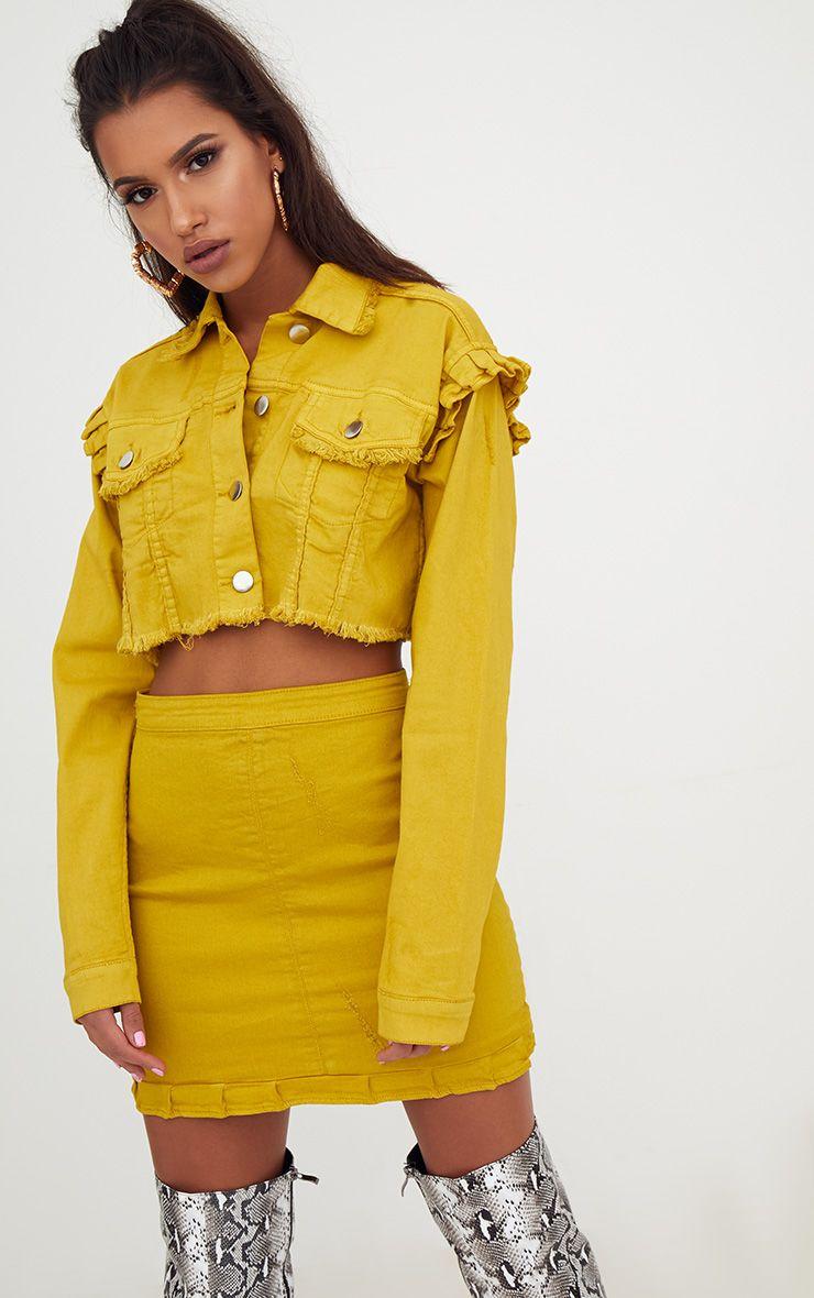 Yellow Ruffle Cropped Denim Jacket 1