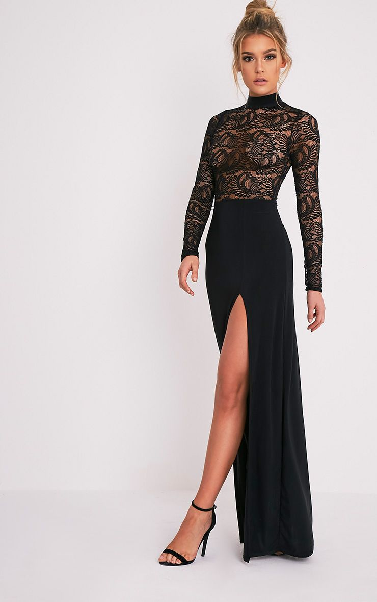Maisie Black Lace Top Split Side Maxi Dress