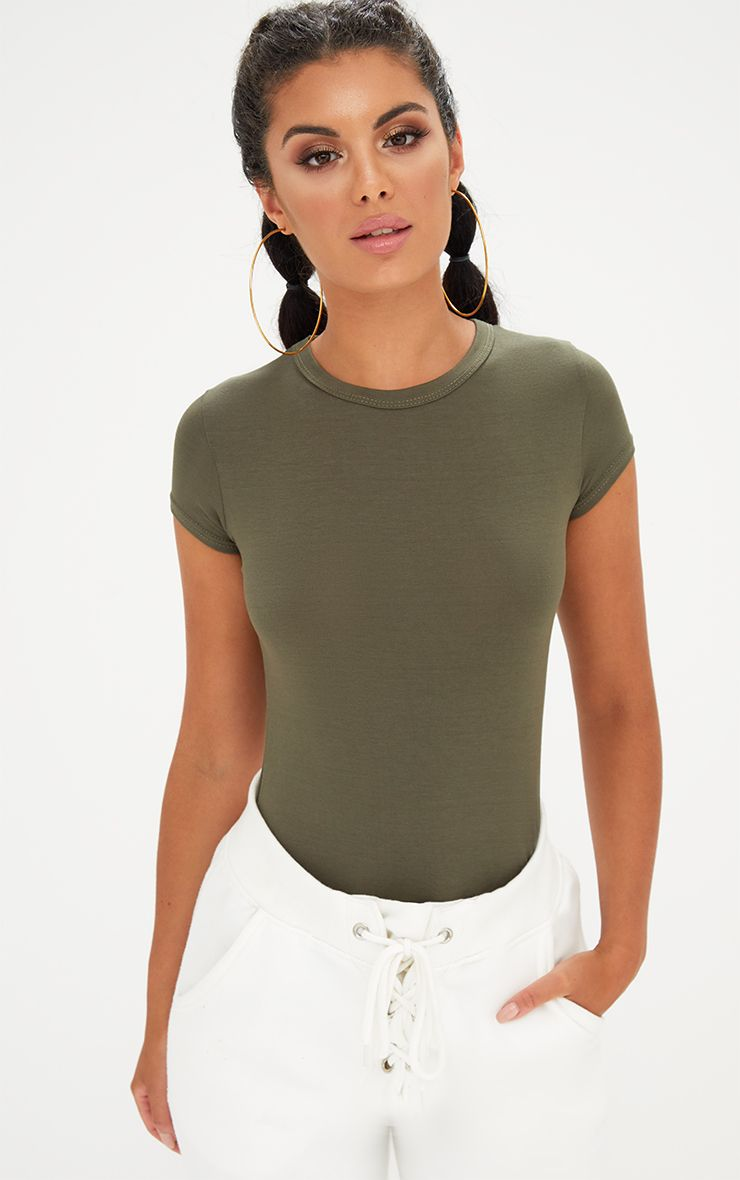 Khaki Basic Crew Neck Fitted T Shirt