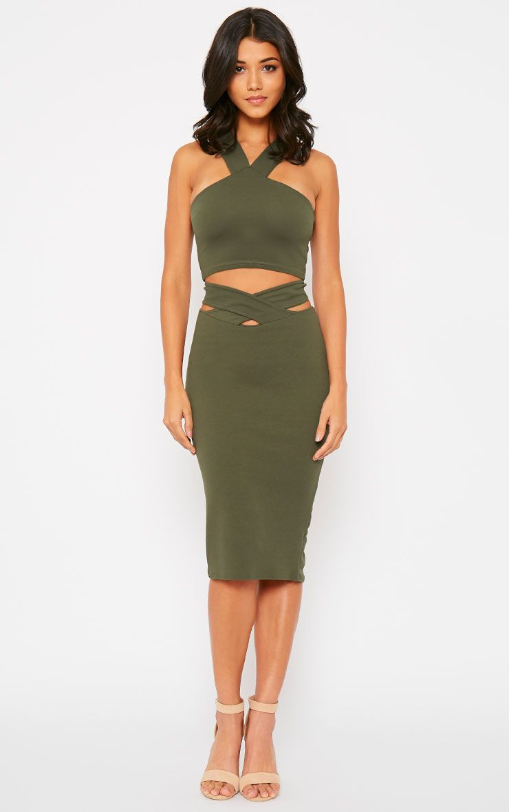 Shanel Khaki Cut Out Midi Skirt 1