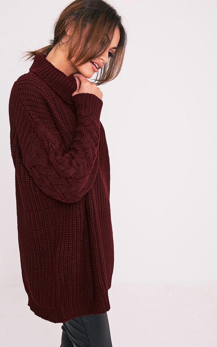 Finolla pull à manches en tricot torsadé surdimensionné bordeaux 4