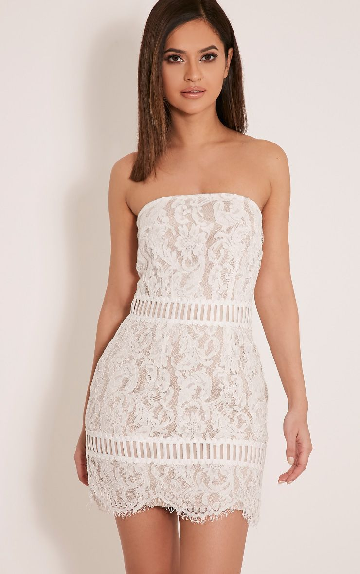 Trishia White Crochet Panel Lace Mini Dress