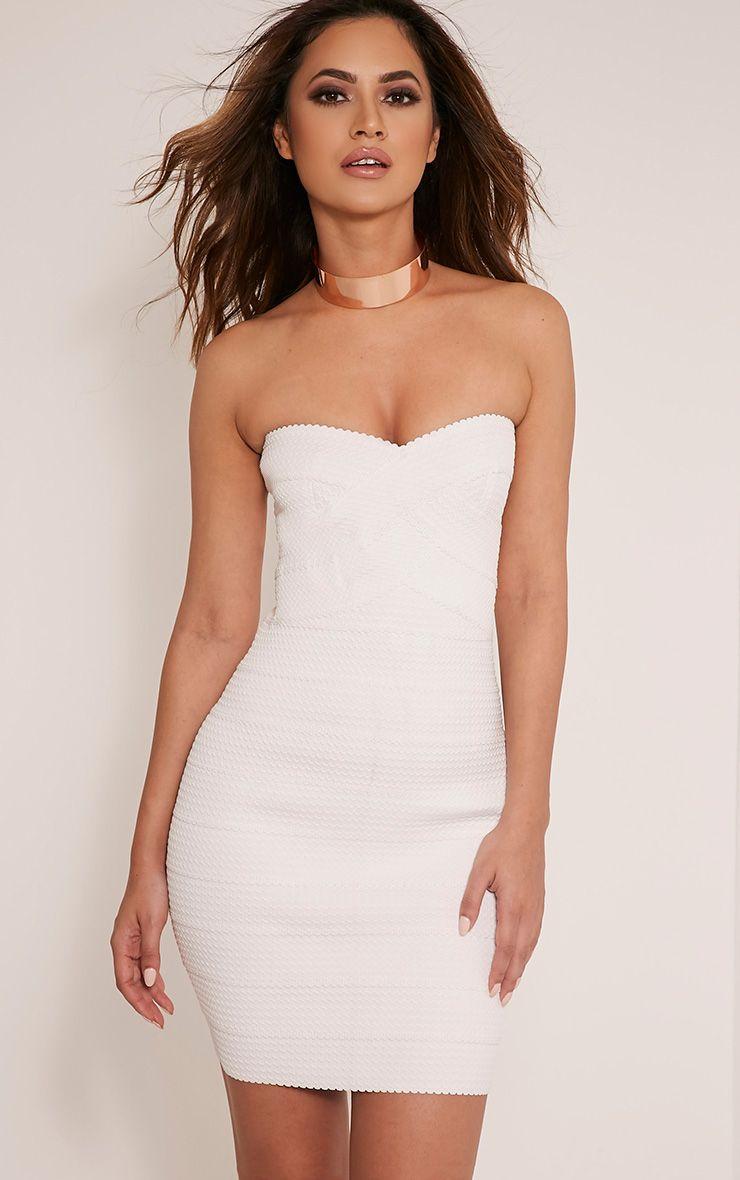 Alira White Bandage Bandeau Textured Bodycon Dress 1