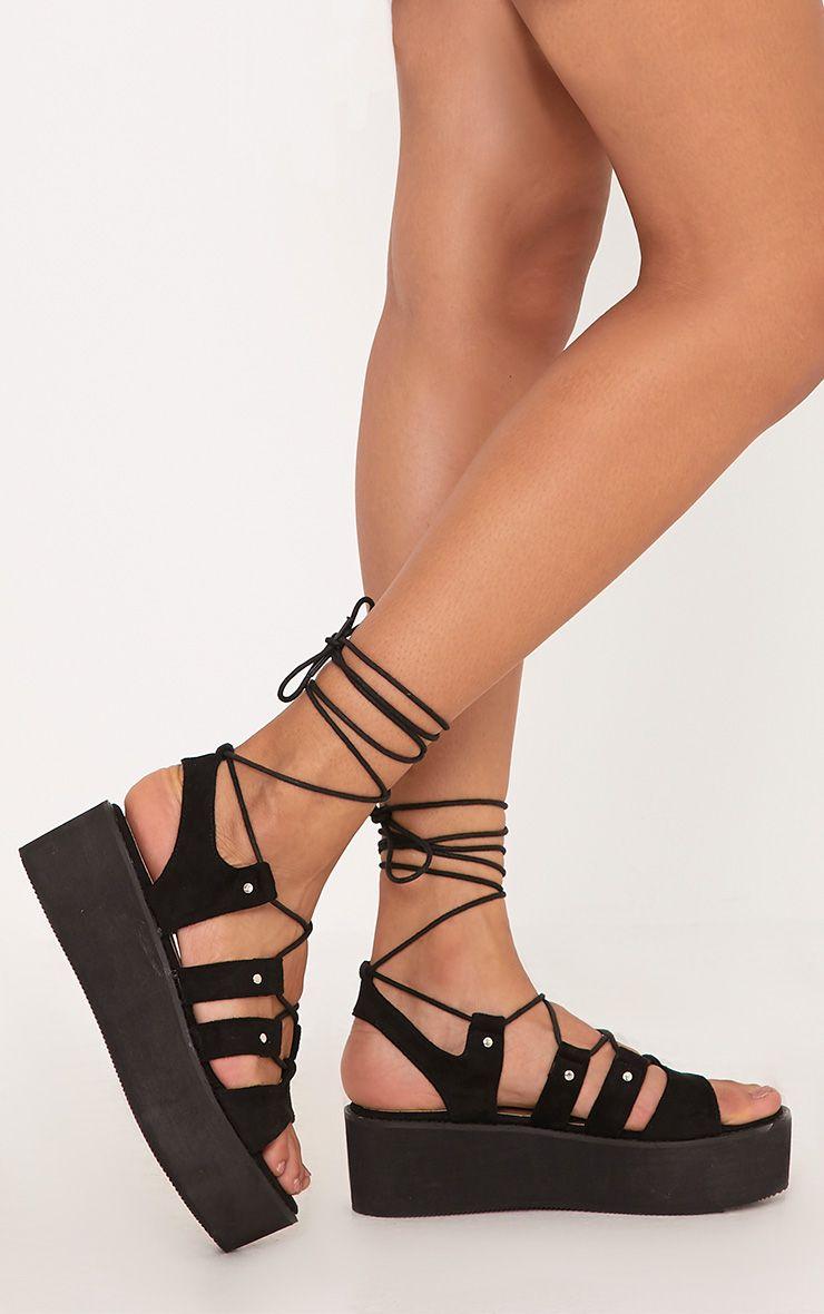 Jackie Black Faux Suede Flatform Gladiator Sandals