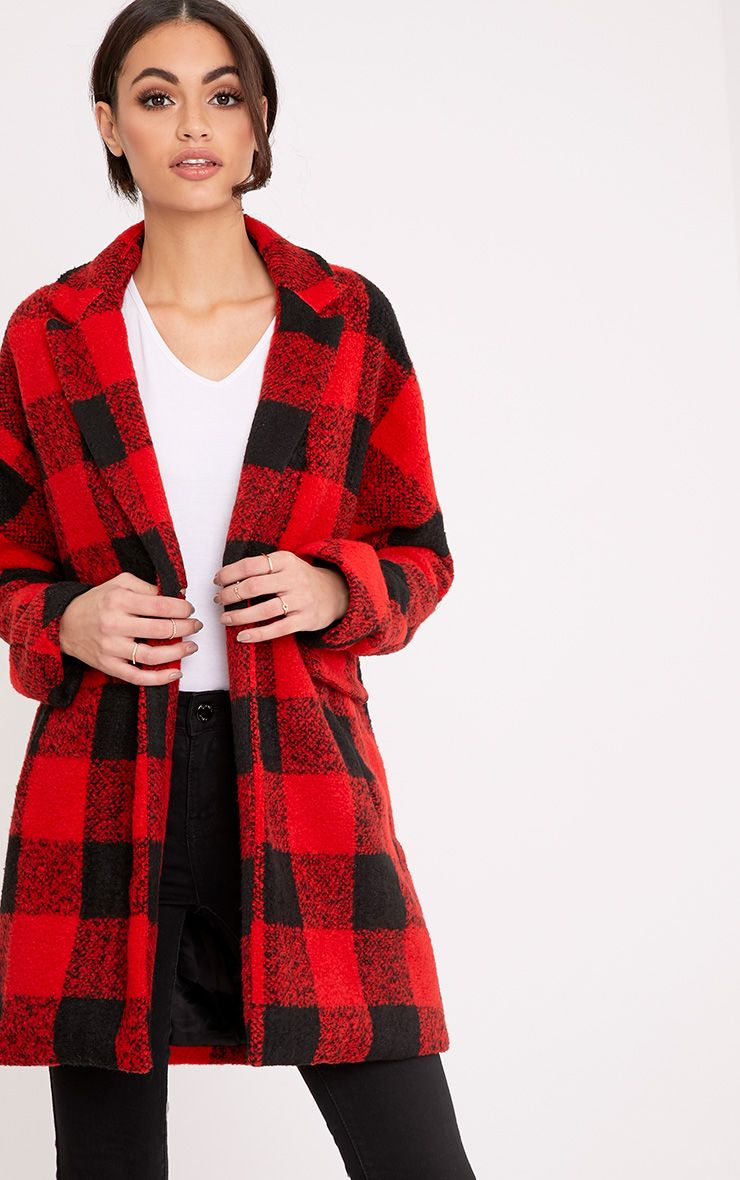 Stefanie Red Checked Oversized Coat