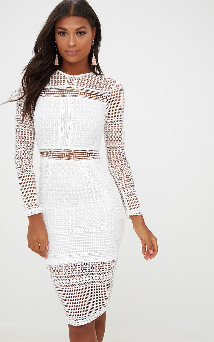 White Lace Long Sleeve Midi Dress