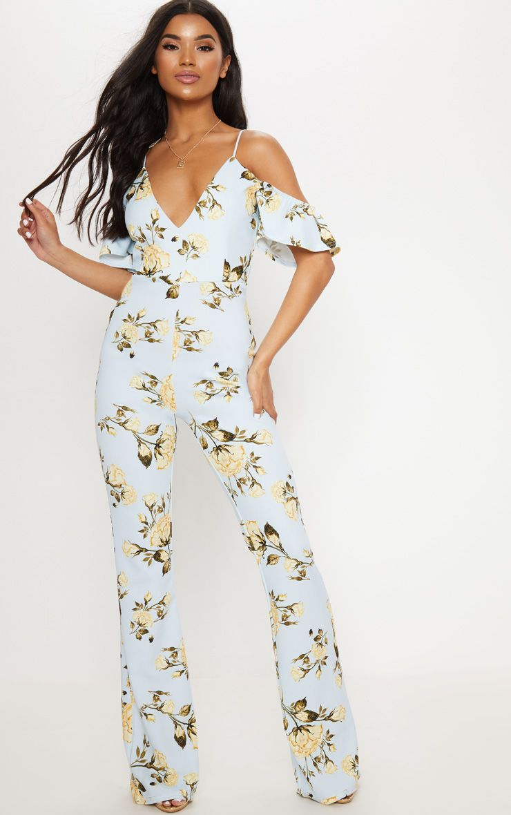 Blue Floral Printed Cold Shoulder Jumpsuit