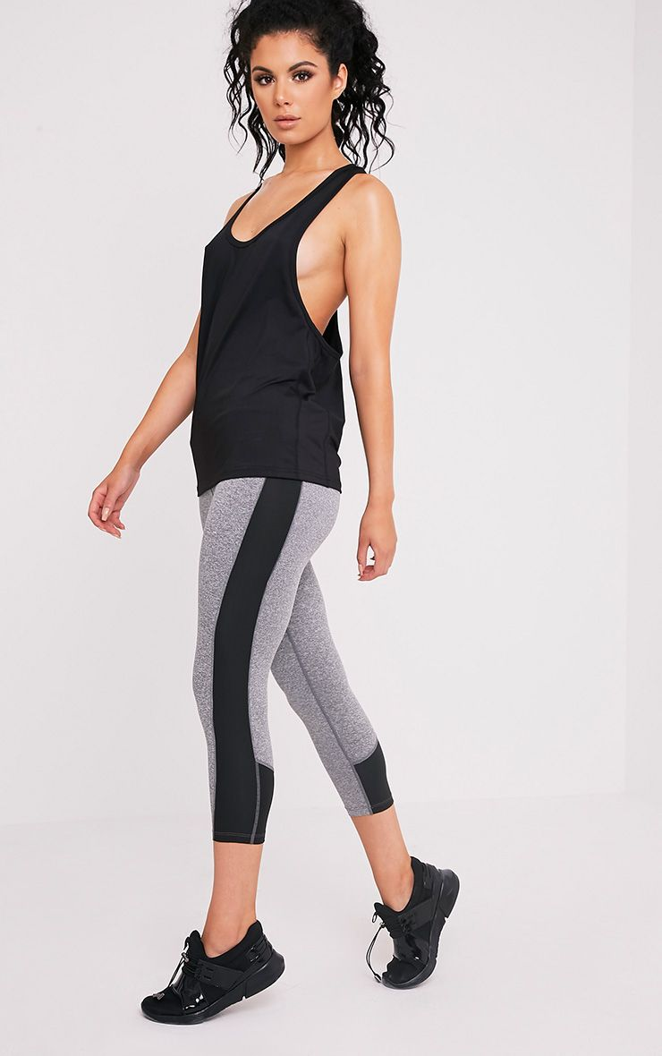 Fion Black Panelled Cropped Gym Leggings 1