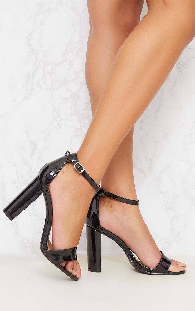 Black Patent Block Heel Strappy Sandal