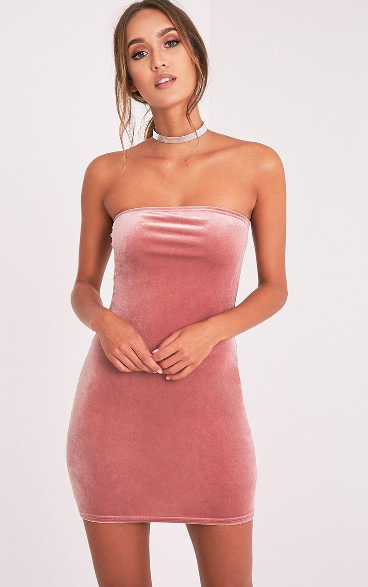 Shany Pink Velvet Bandeau Bodycon Dress 1