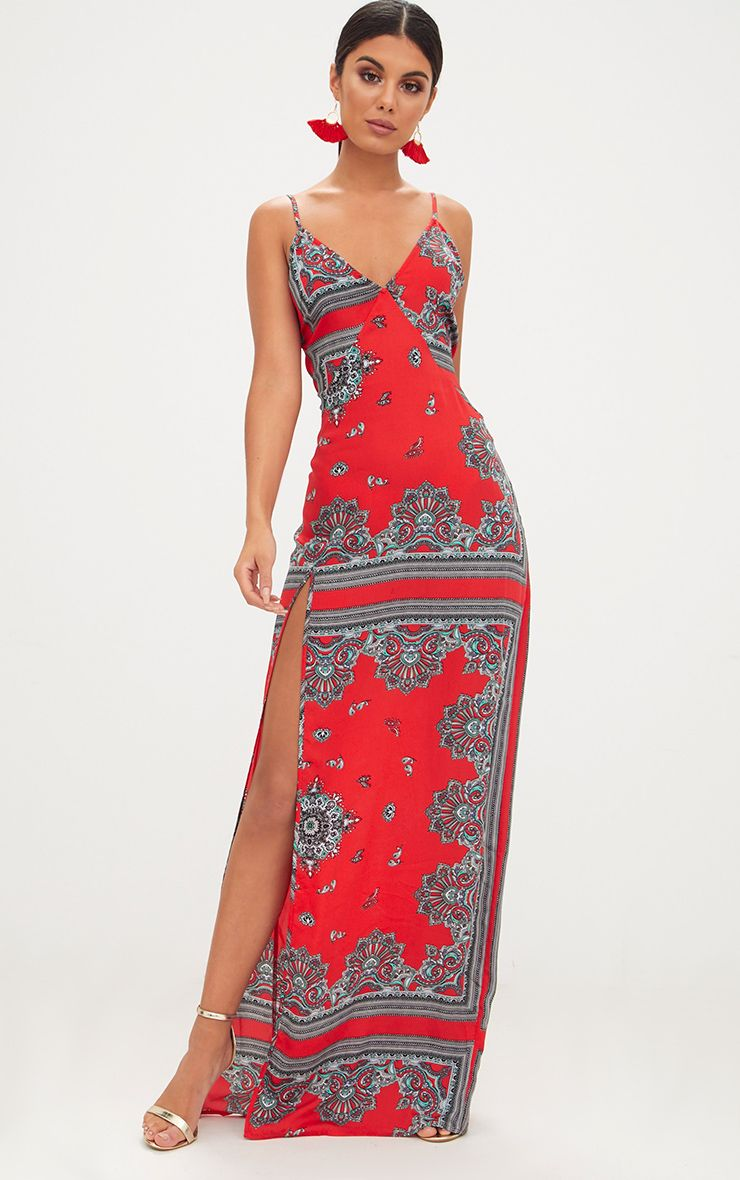 Red Satin Paisley Print Strappy Side Split Maxi Dress
