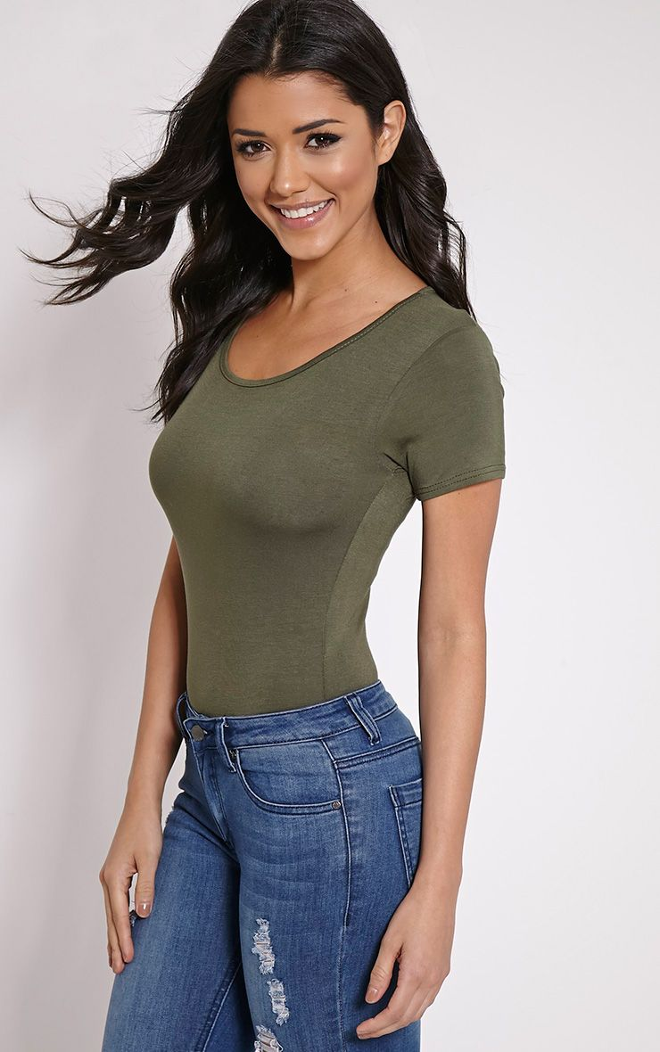 Basic Khaki Short Sleeve Bodysuit 1