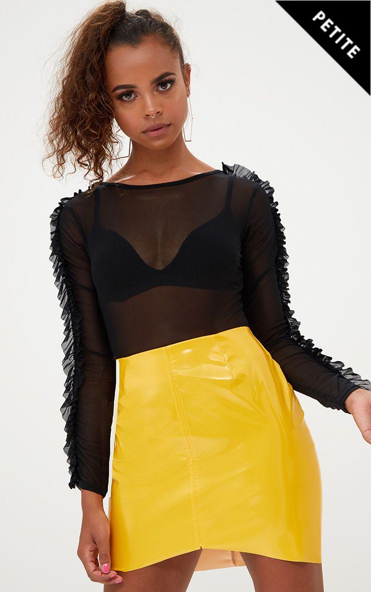 Petite Black Mesh Frill Sleeve Bodysuit