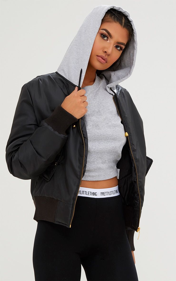 Black Sweatshirt Hooded Bomber Jacket. Coats & Jackets ...