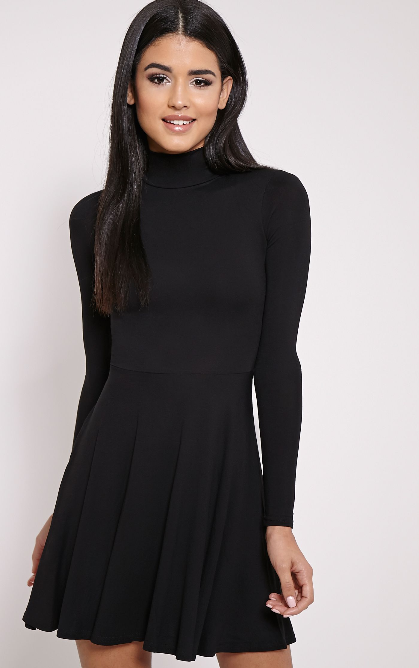 Basic Black High Neck Jersey Skater Dress