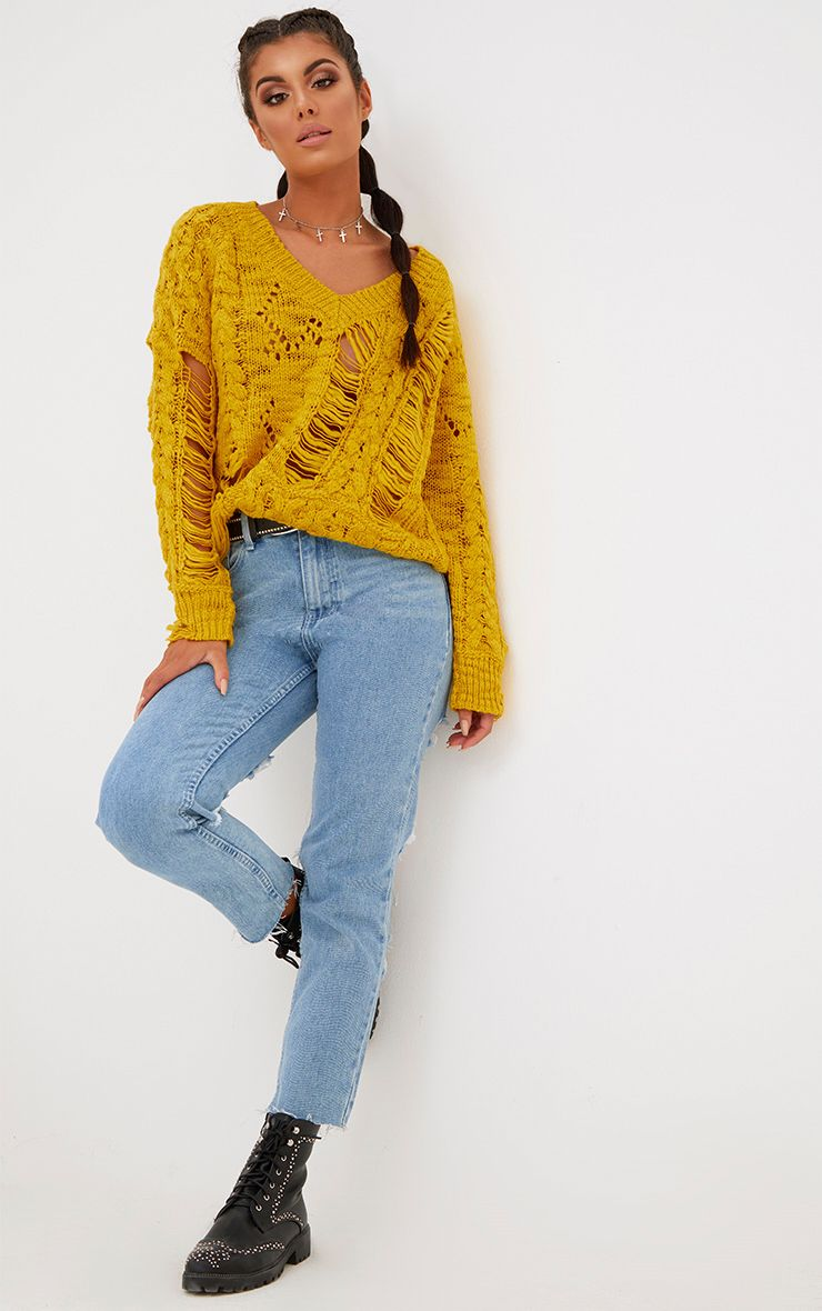 Yellow Super Ladder Distress V Neck Jumper