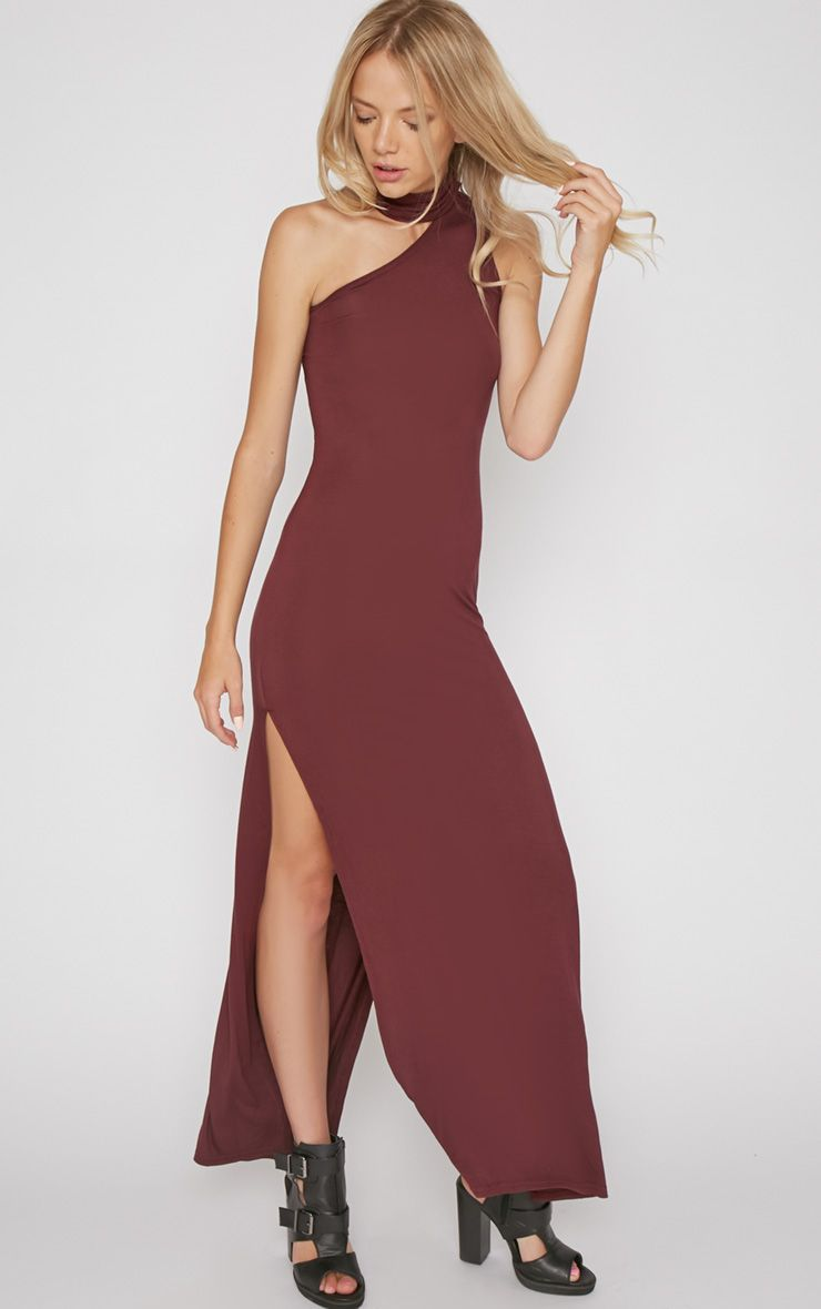 Jennifer Burgundy Thigh Split Maxi Dress 1