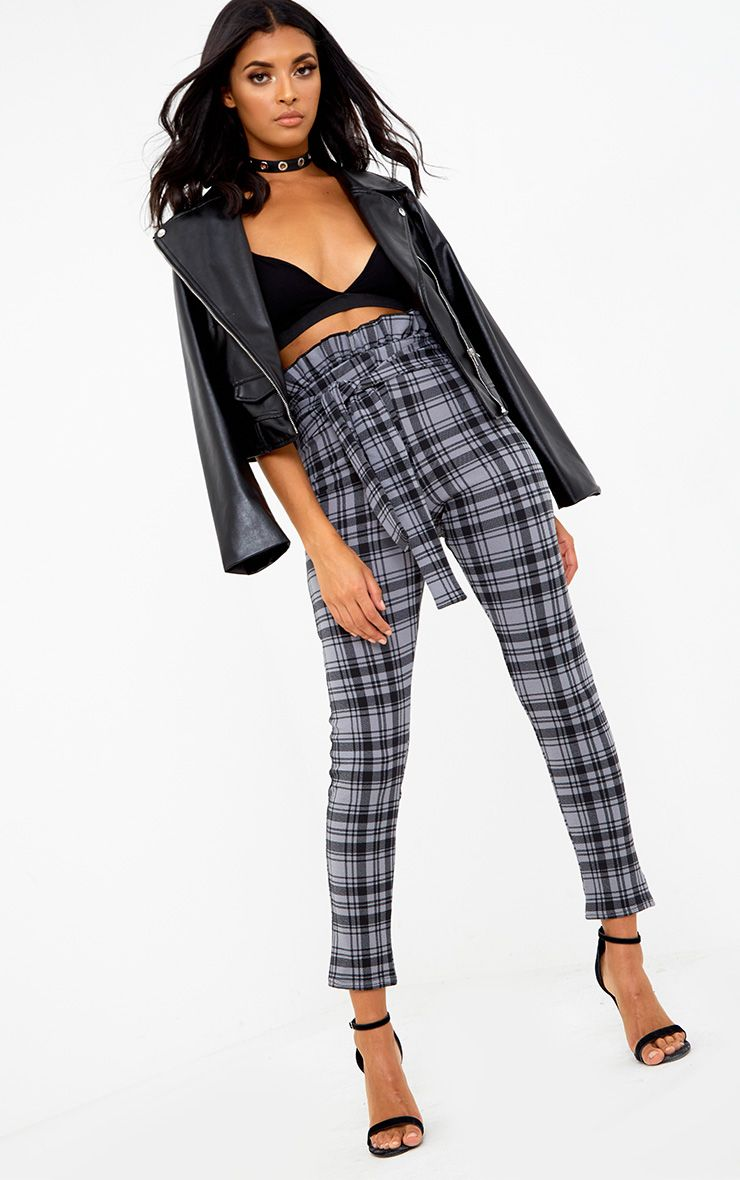 Grey Check Paperbag Skinny Trousers