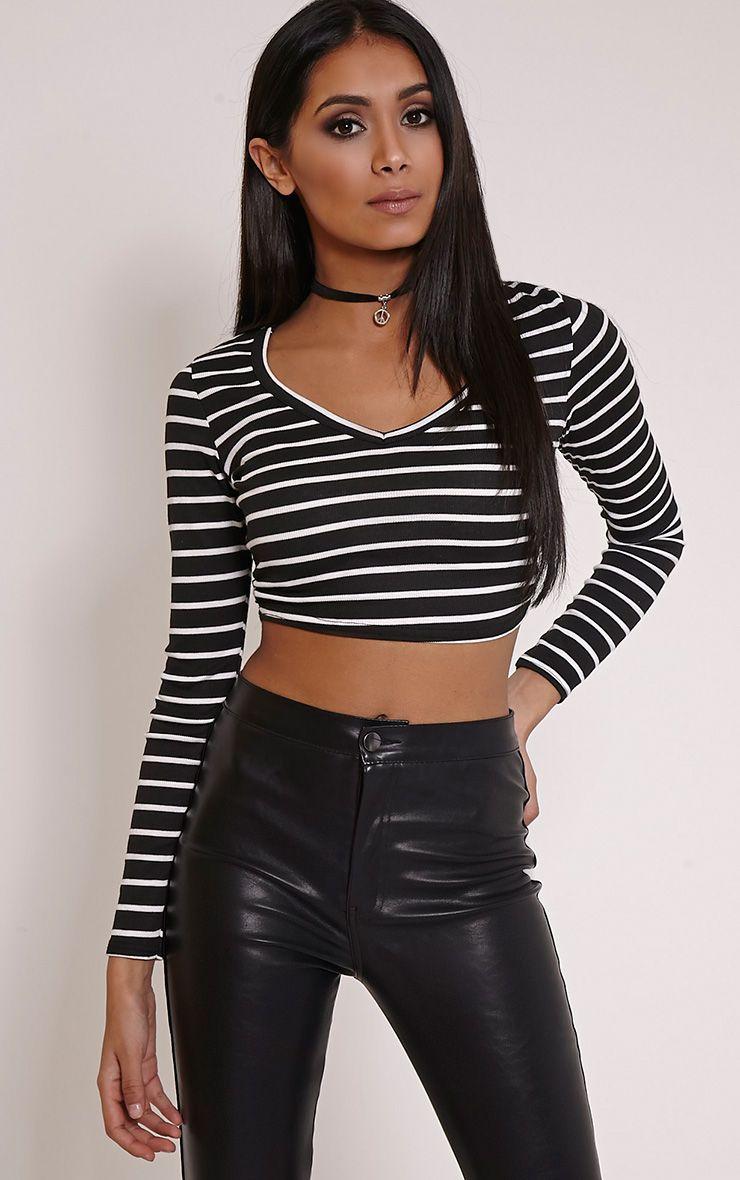 Daisy Black Striped V Neck Long Sleeve Crop Top 1