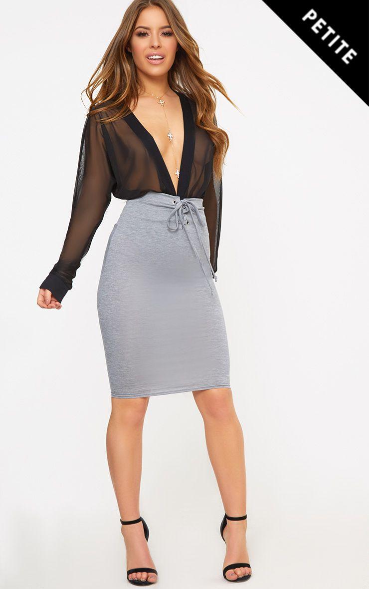 Petite Grey Corset Waist Midi Skirt