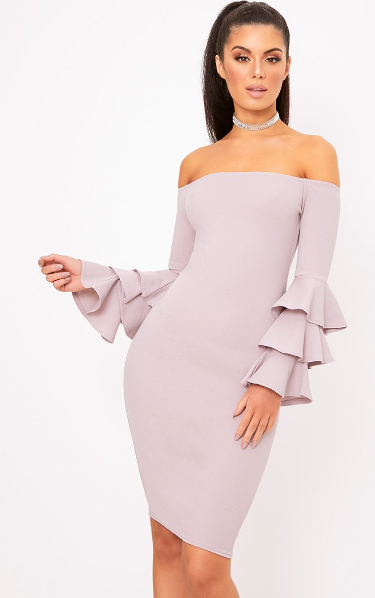 Lilac Grey Bardot Ruffle Sleeve Midi Dress