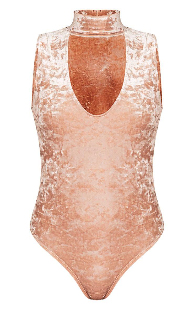 Melani body-string en velours ras du cou montant champagne 3