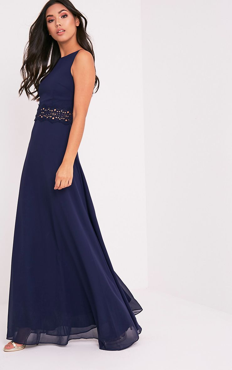 Caitlan Navy Lace Insert Maxi Dress 1