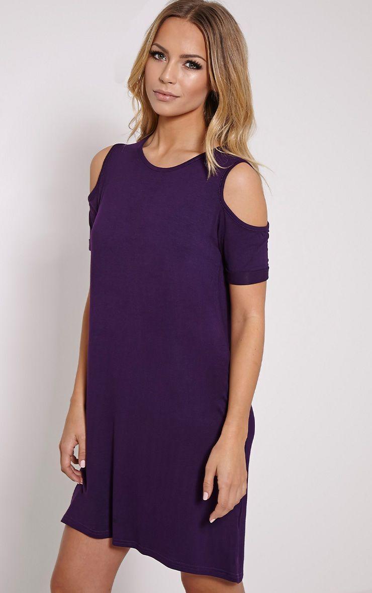 Basic Plum Cut Out Shoulder Dress 1