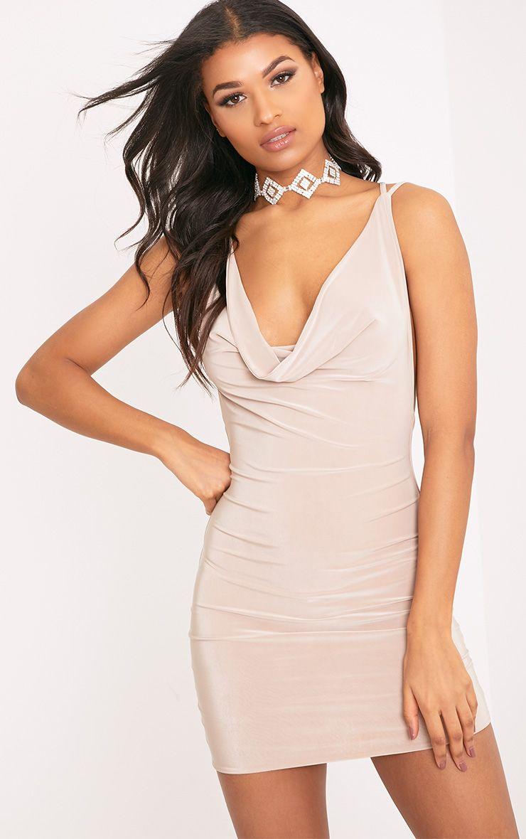 Eleonora Nude Strappy Back Cowl Neck Bodycon Dress