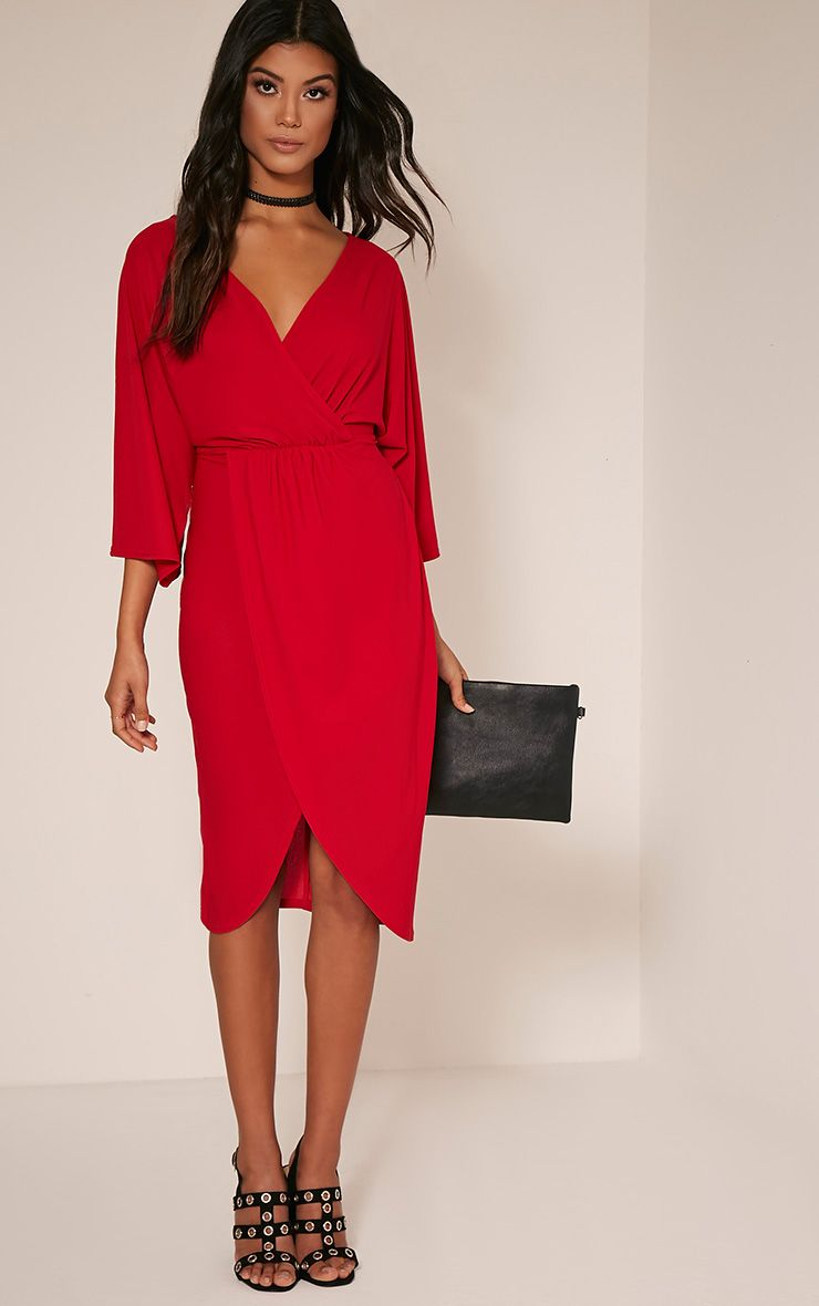 Wedding guest dresses dress for a wedding for Red midi dress wedding guest
