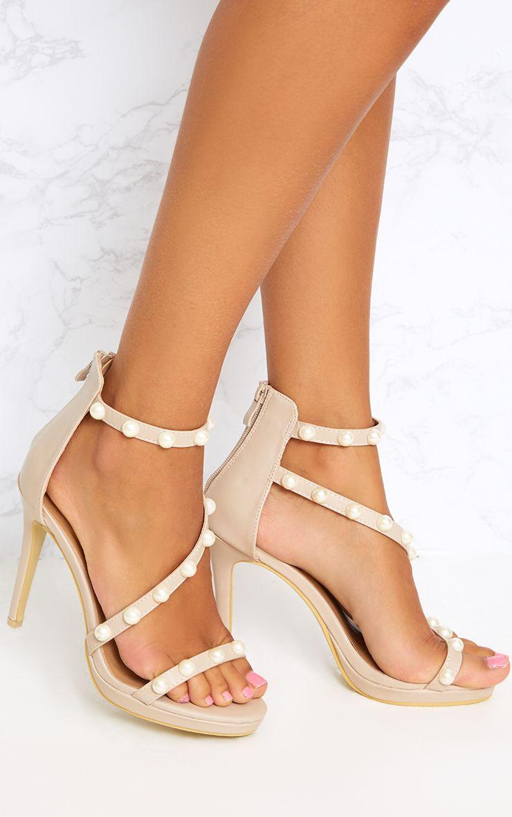 Nude Pearl Strap Heels