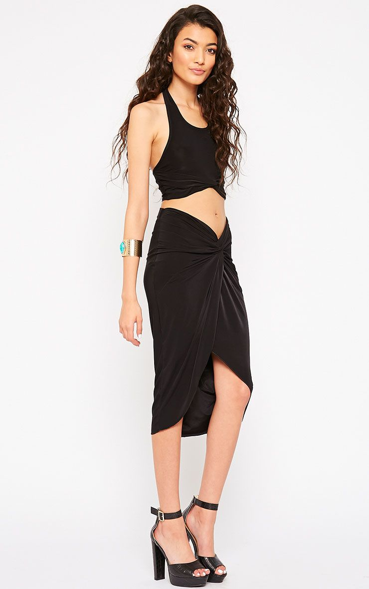 Florentina Black Knot Front Midi Skirt 1