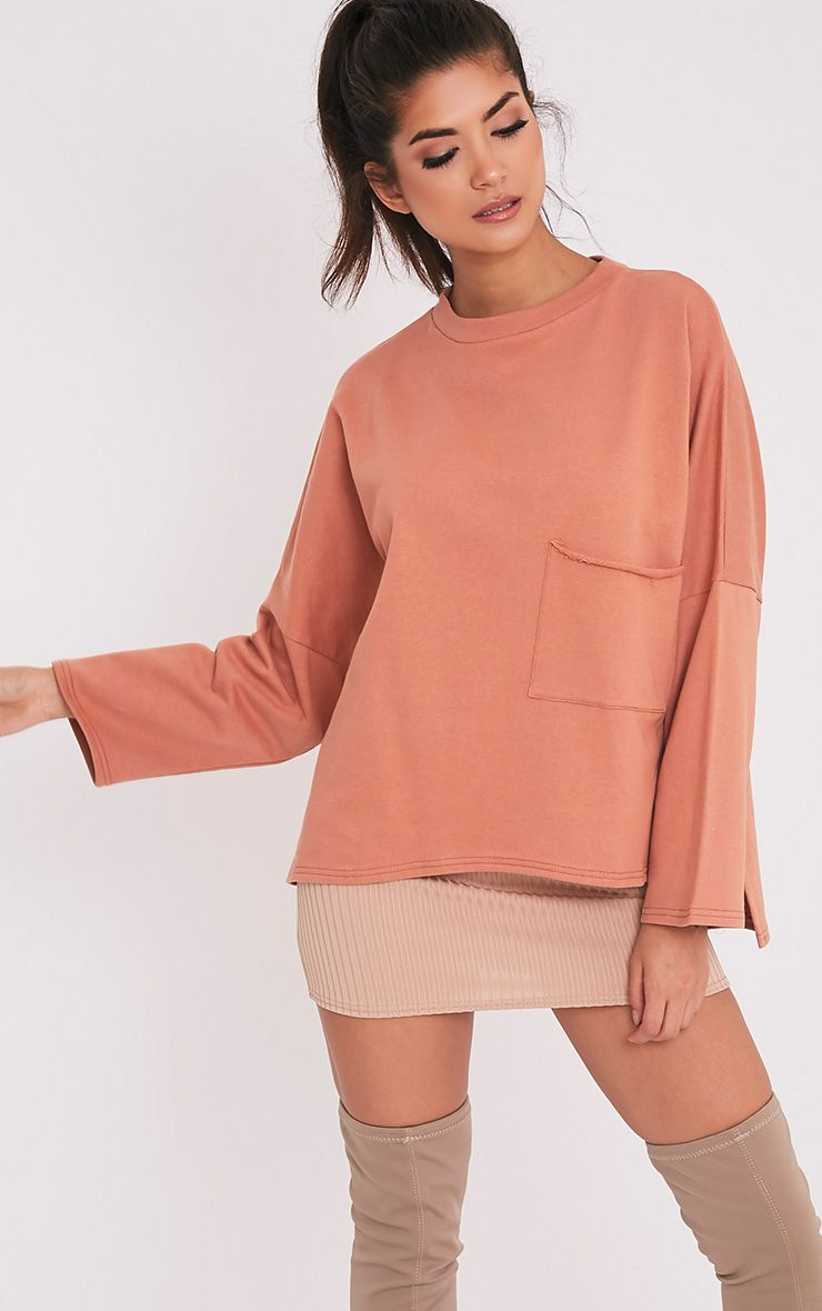 Amiele Dark Peach Oversized Pocket Sweater