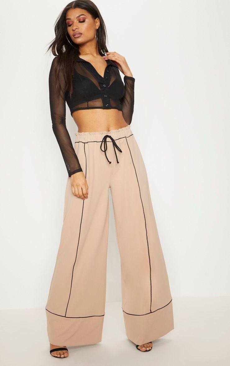 Pantalon ample gris pierre à coutures contrastes et taille froncée