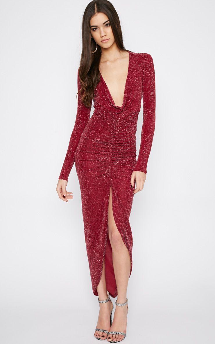 Kiera Red Glitter Ruched Maxi Dress 1