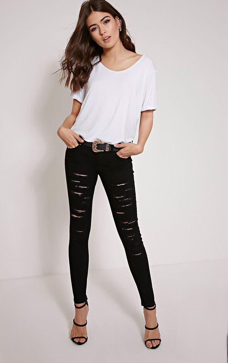 Lehanna Black Ripped Skinny Jeans 1