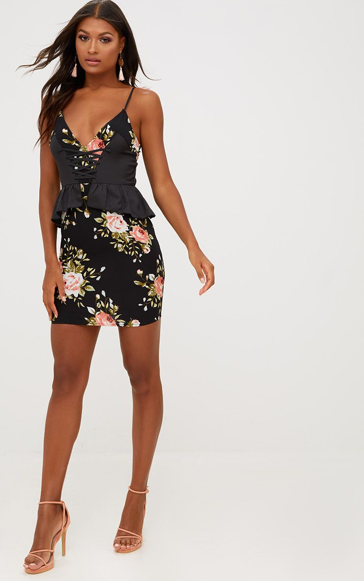 Black Floral Corset Detail Peplum Bodycon Dress