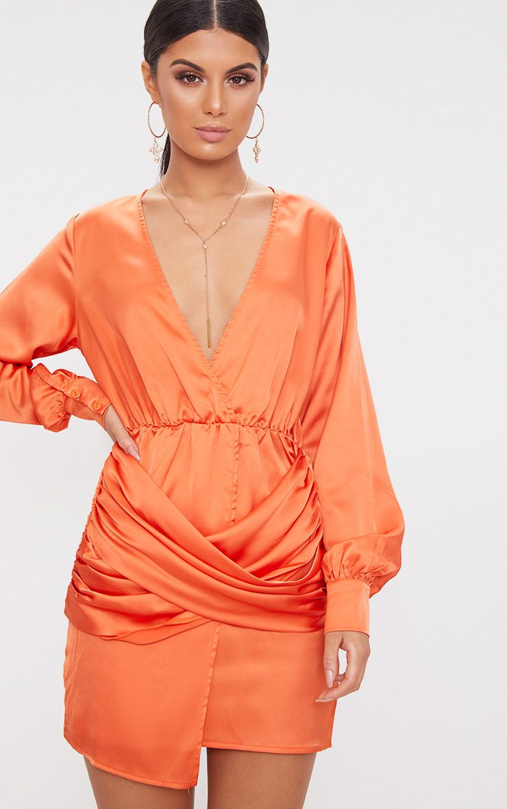 Orange Long Sleeve Plunge Wrap Over Skirt Satin Bodycon Dress
