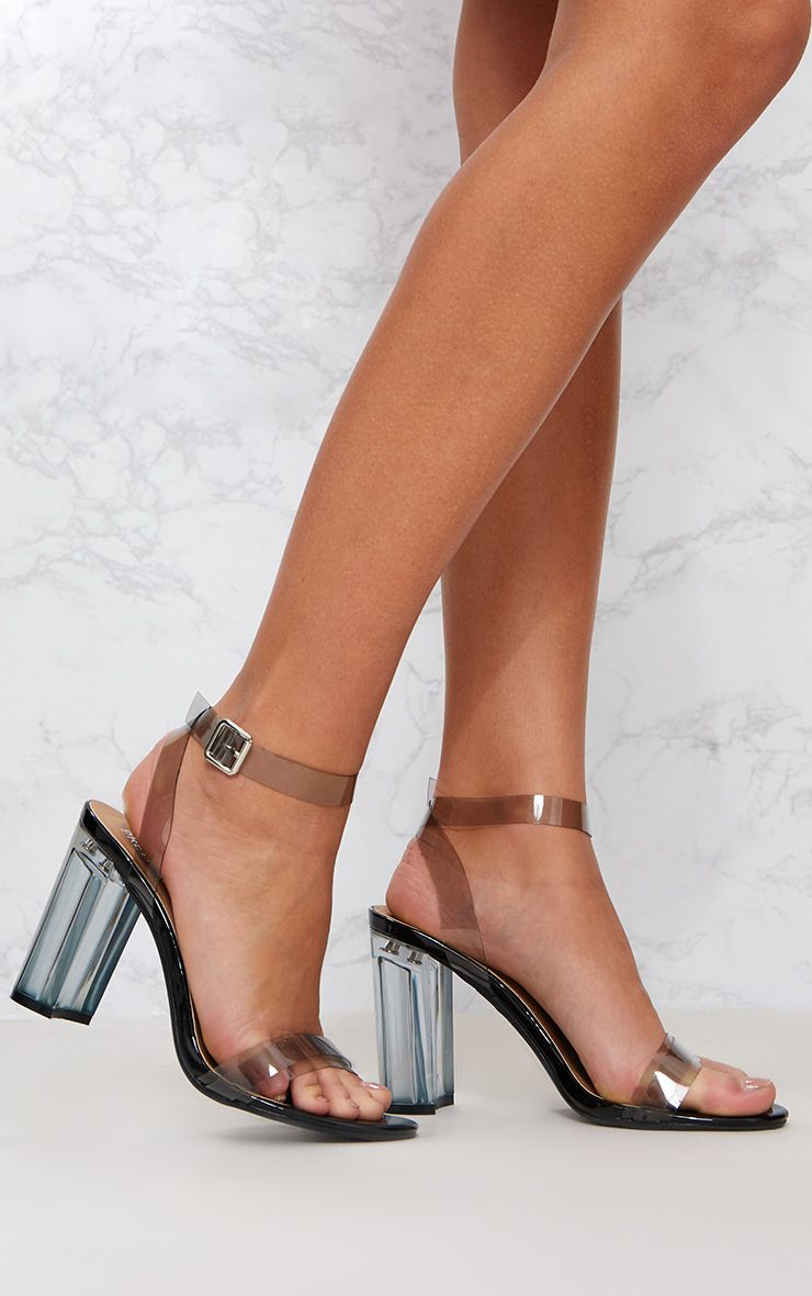 Black Clear Block Heel Sandal